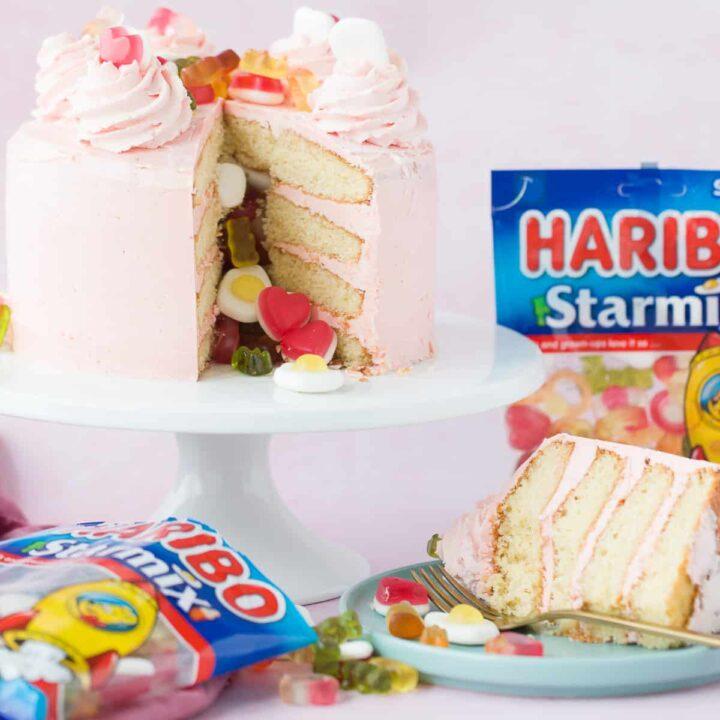 A Pinata cake made with HARIBO sweets.