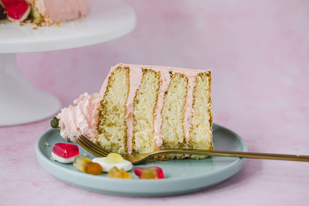 A slice of cake on a plate with sweets next to it.