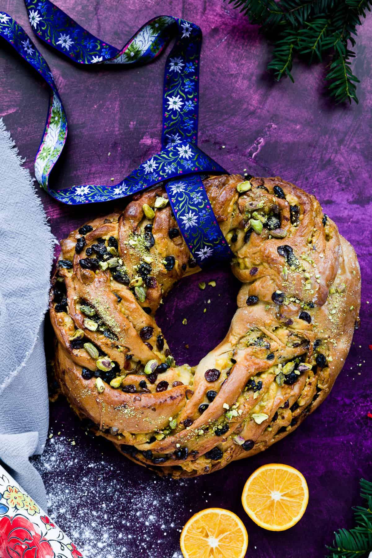 Christmas bread on a dark purple background.