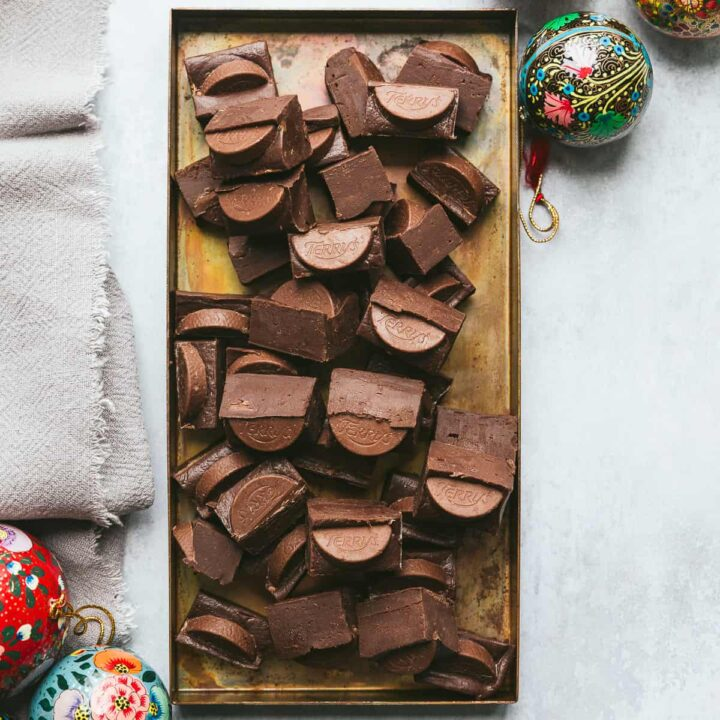 A tray filled with pieces of chocolate orange fudge.