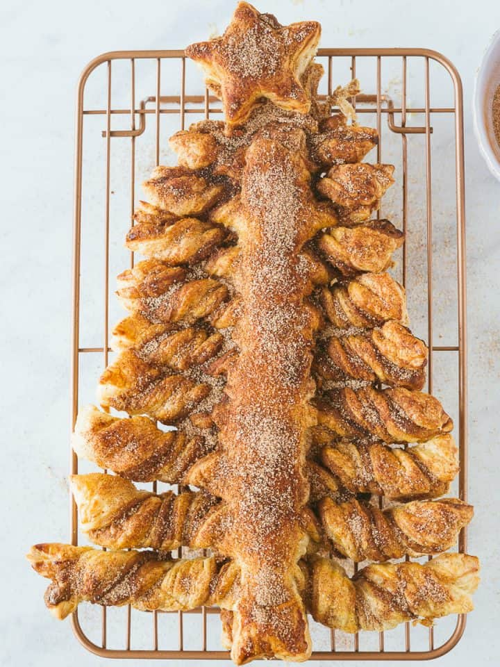 A puff pastry christmas tree made with Biscoff spread.