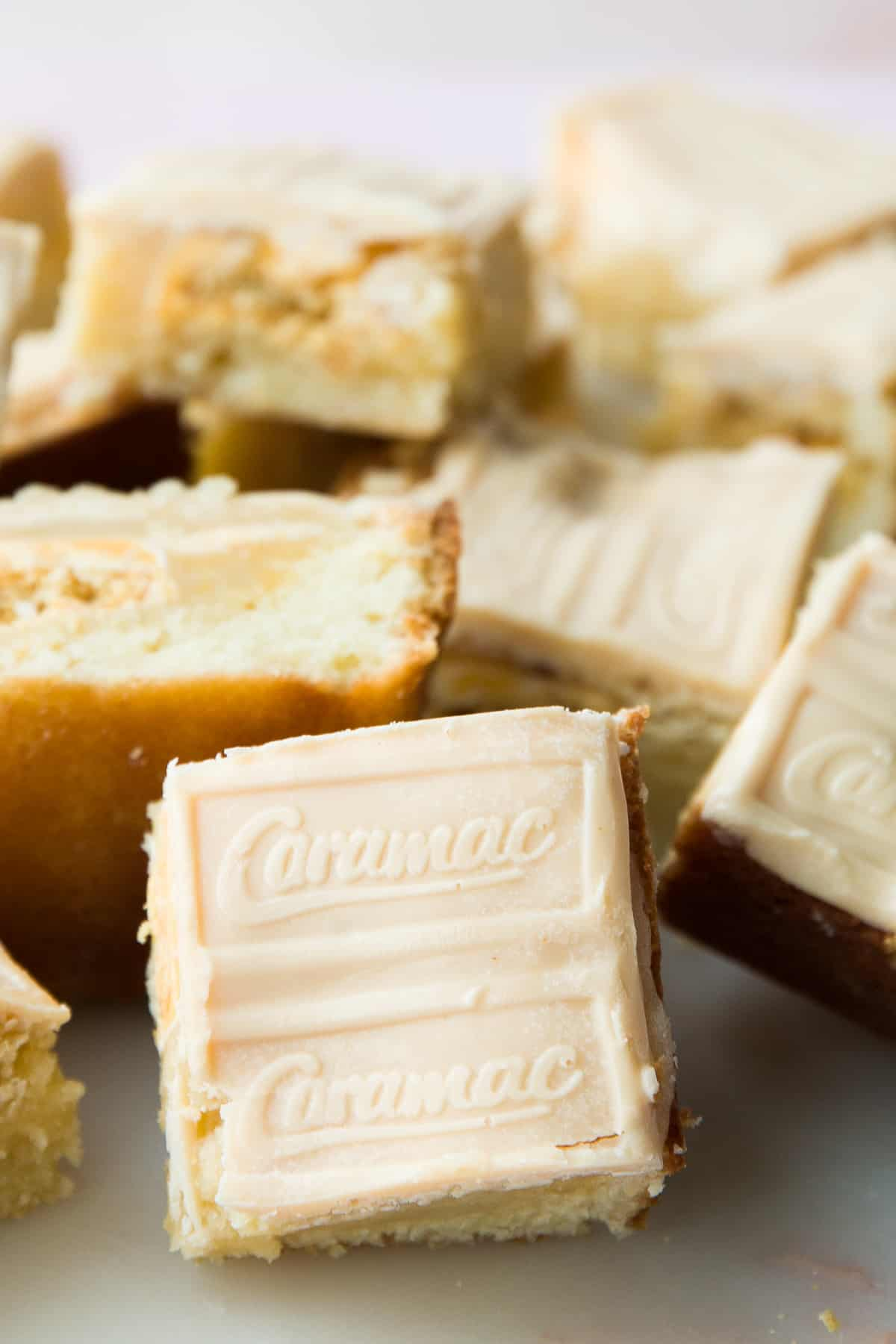 A white chocolate blondie with caramac for topping.