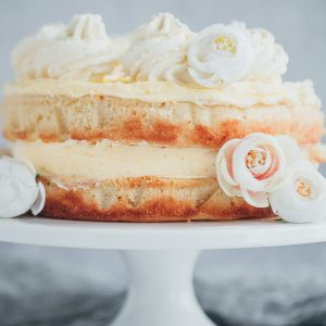 A two layer lemon cake with lemon buttercream.