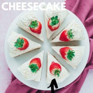 A vanilla cheesecake pinterest image with text overlay.