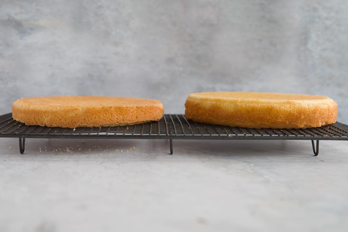 Two sponge cakes side by side. One has extra baking powder added and is much taller than the one without it.