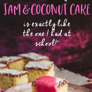 Squares of cake, one is covered with pink custard. Pinterest image with text overlay.
