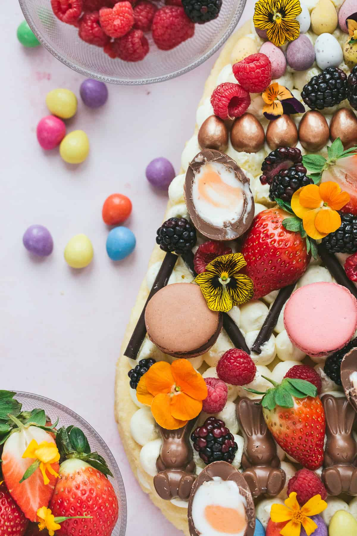 An Easter dessert made from sheets of shortcrust pastry cut into the shape on an egg and decorated with chocolate.