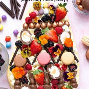 An Easter Cream Tart Pinterest image with text overlay.