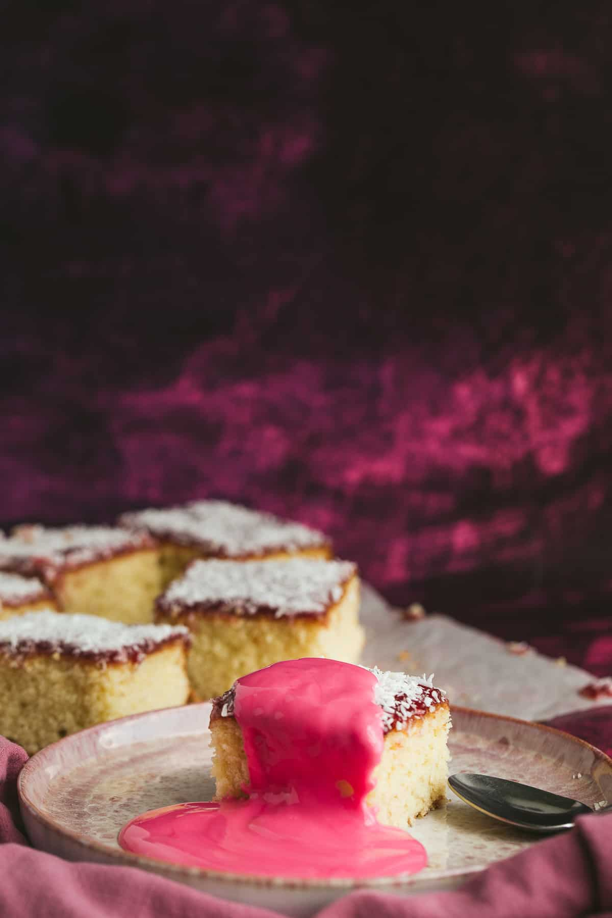 Old School Pudding with pink custard.