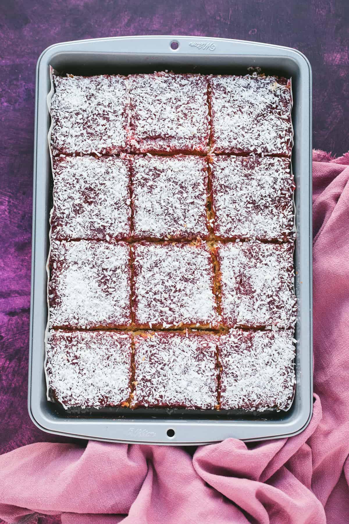 A traybake cake in a rectangular baking tin.