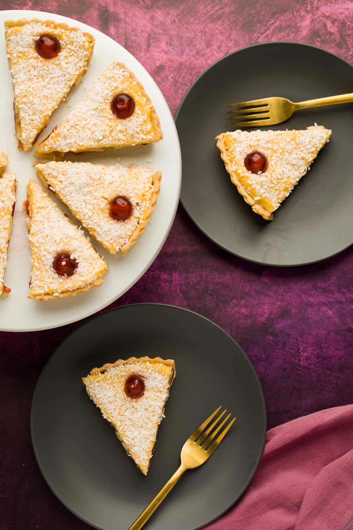 An old fashioned Manchester Tart cut in to slices.
