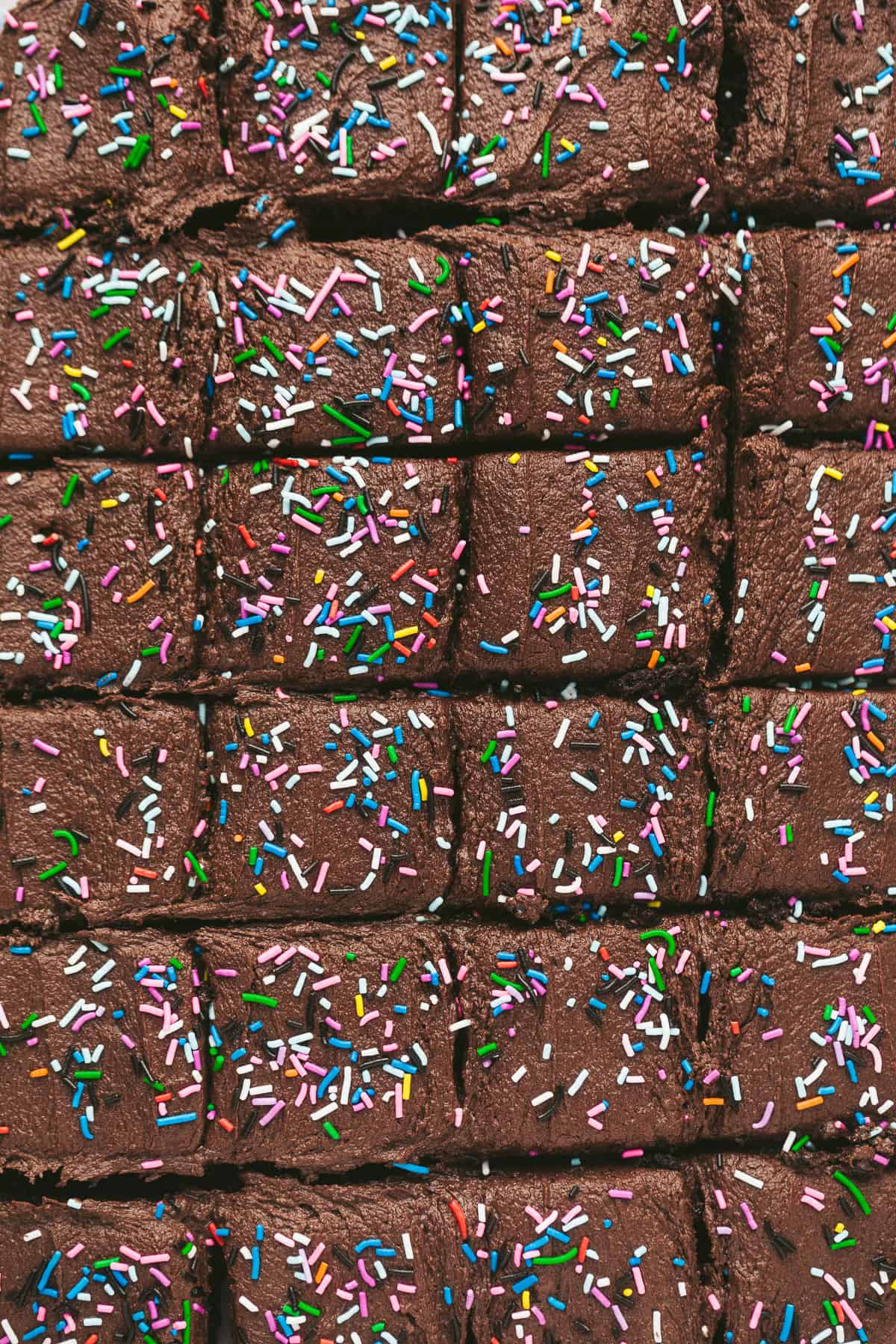 A large chocolate sprinkle cake cut into 24 slices.