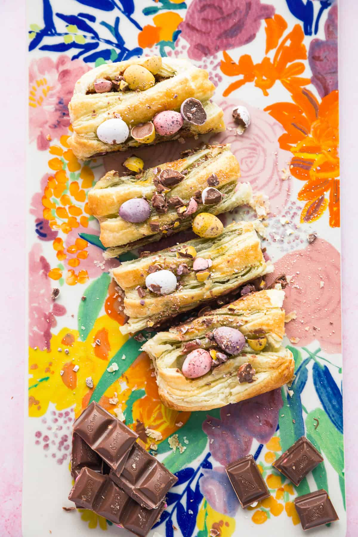 A chocolate stuffed Easter pastry.