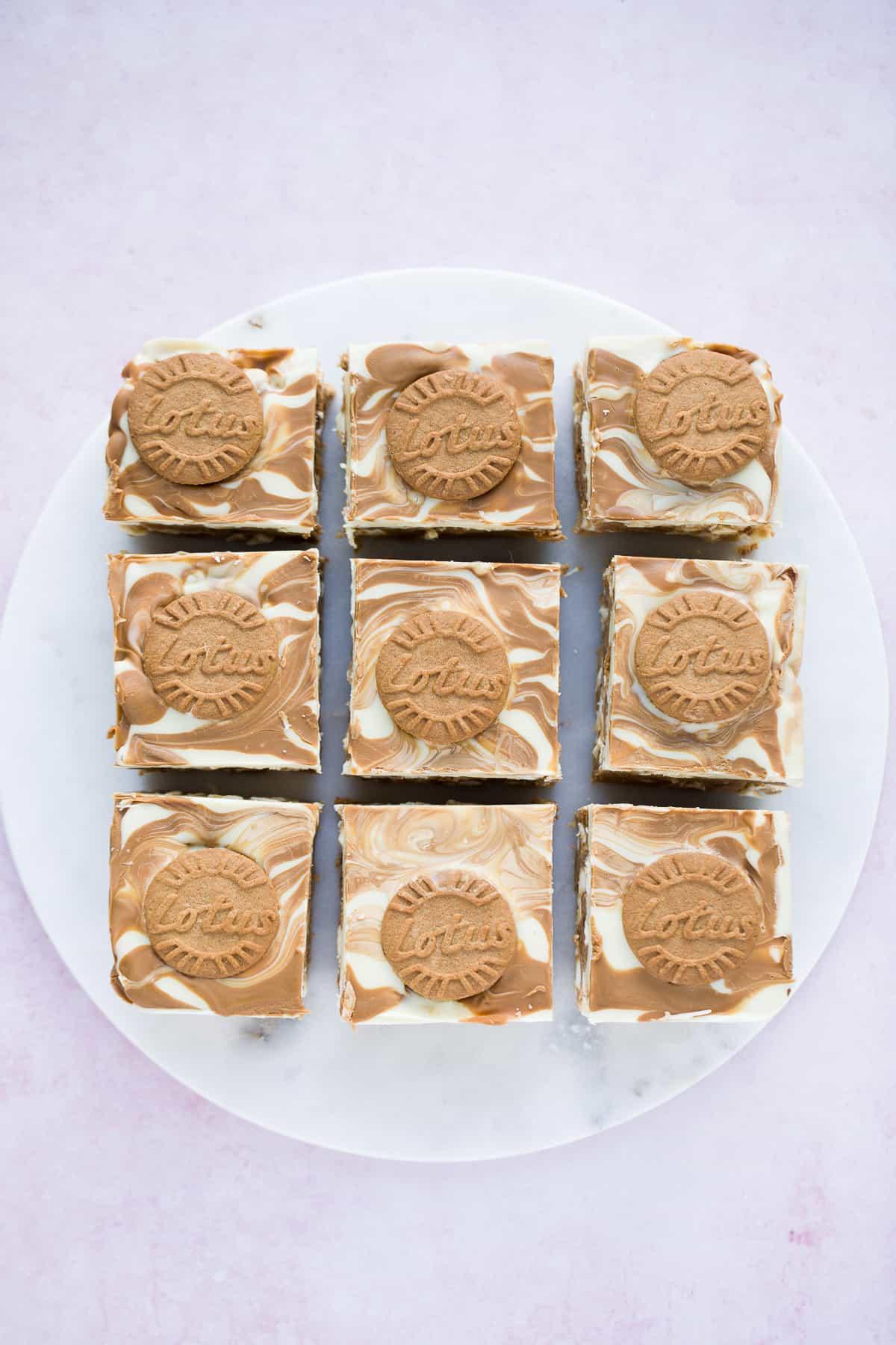 9 identical squares of Biscoff tiffin.