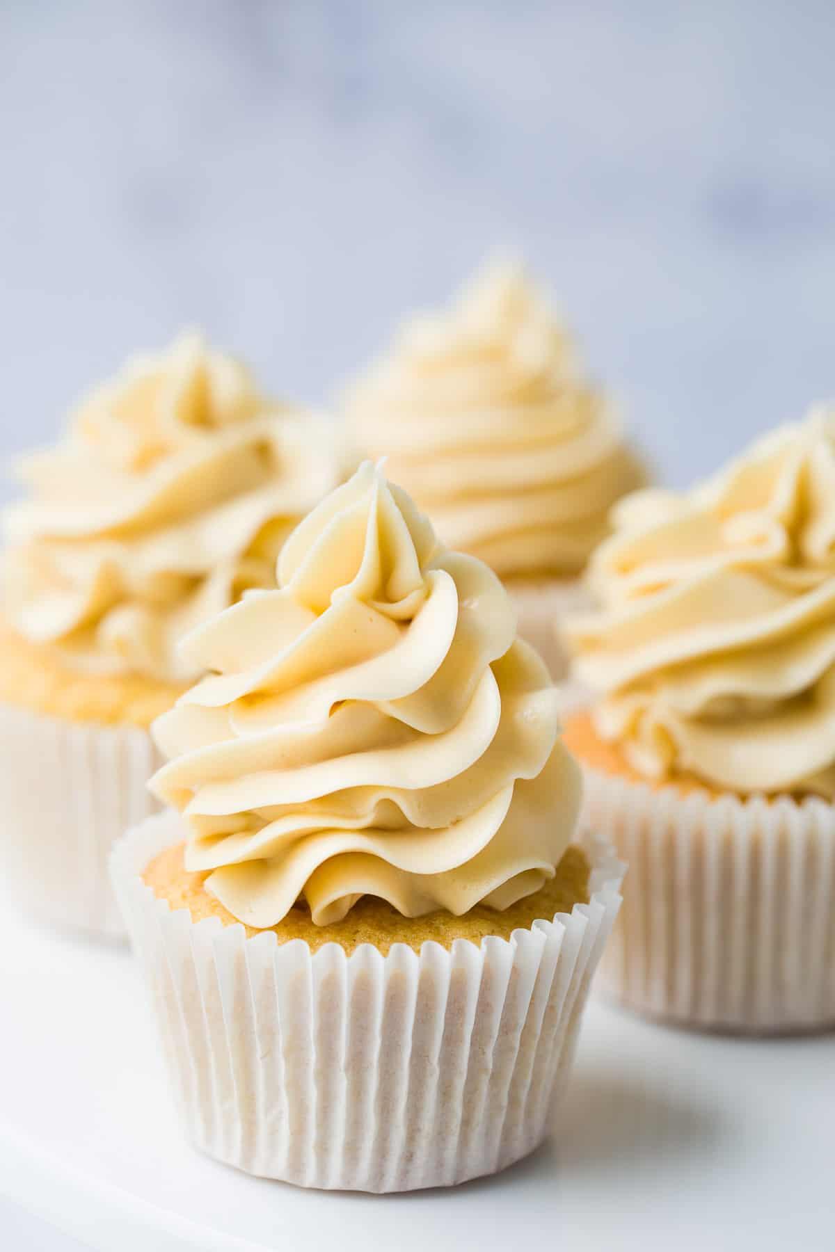 A moist vanilla cupcake with vanilla flavoured buttercream icing.