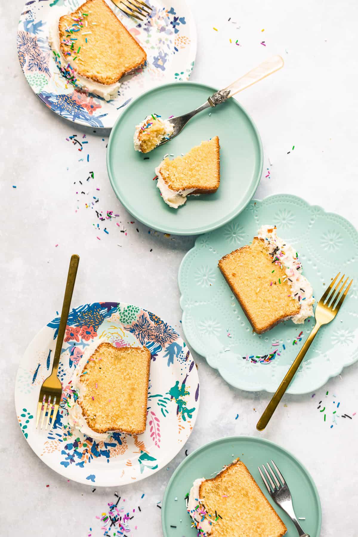 Slices of moist vanilla loaf cake.